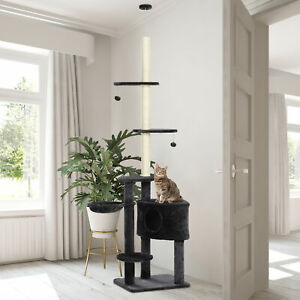 PawHut 5-Tier Grey Sisal Multi-Level Cat Tree Tower with Scratching Posts Plush