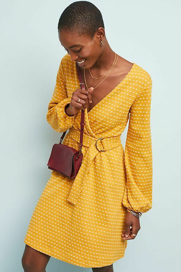 ANTHROPOLOGIE NWT MAEVE Malta Gelb Dot Wrap DRESS Fit and Flare Größe Large