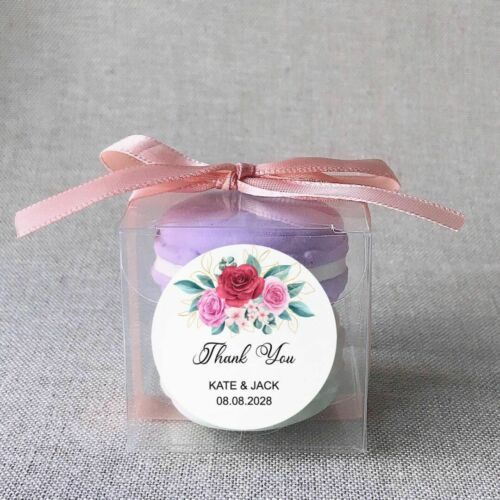 Custom Wedding Flower Thank You Floral Favor Box Gift Bag Stickers Gift Labels