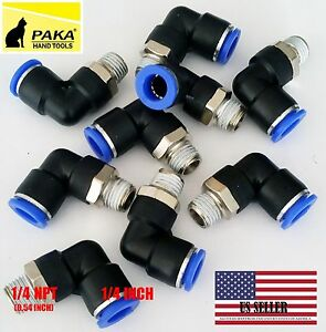 "5x Pneumatic Male Elbow Connector Tube OD 1/4""(6mm) X NPT 1/4 PU Air Push In"