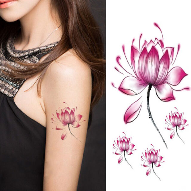 Waterproof Lotus Flower Tattoo Stickers Floral Pattern Temporary Body Art、New