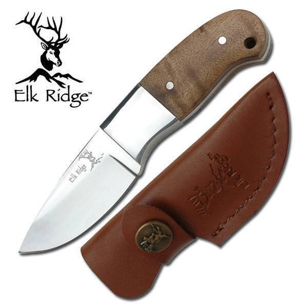 Elk Ridge Mini Burlwood Hunter Hunting Knife Fixed Blade Full Tang + Sheath 111