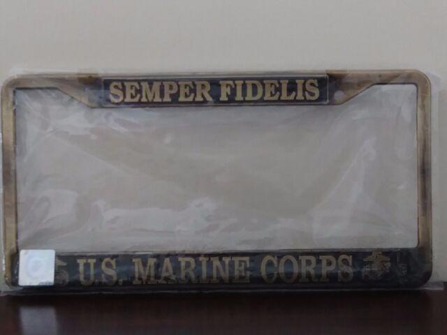 Semper Fidelis U.S Marine Corps Raised Letters Chrome License Plate Frame