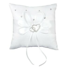 Wedding-Ring-Pillow-15-x-15-cm-White-Double-Heart-Crystal-Rhinestone-O2X1