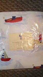 New-Pottery-Barn-Kids-Navigator-Sailboat-Twin-DUVET-Pillowcase-Boat-Lighthouse