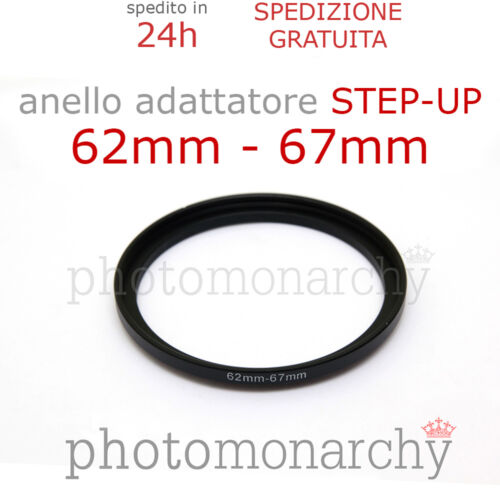 STEP UP adapter ring 62 67 mm Anello STEP-UP adattatore da 62mm a 67mm filtro