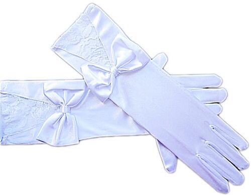 Braut Handschuhe Finger weiß große Schleife Spitze Brauthandschuhe Hochzeit 32cm