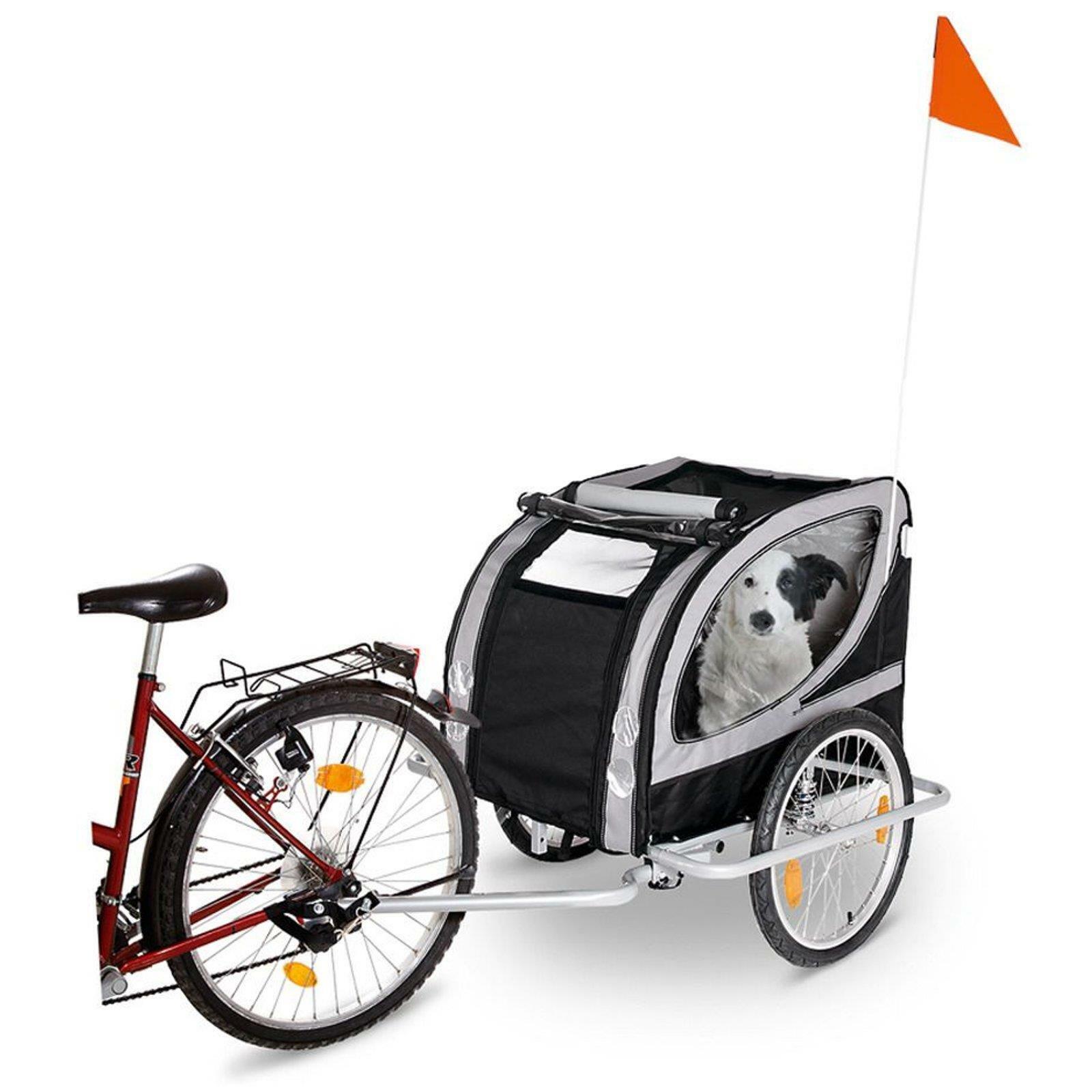 Karlie Doggy Liner Paris De Luxe Fahrrad Anhänger Hundeanhänger Grau Schwarz