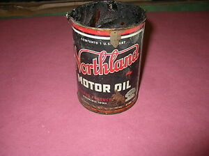 vintage northland motor oil quart metal can waterloo iowa