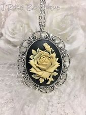 EASTER EASTER DAY VICTORIAN BLACK ANTIQUE WHITE ROSE CAMEO NECKLACE LACE JEWELRY