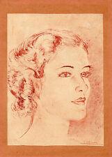 """PORTRAIT AU CRAYON ORIGINAL , signé """" Marie Monin """""""