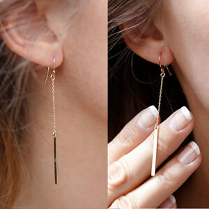 Womens-Gold-Plated-Long-Dangle-Drop-Chain-Hook-Earrings-Ear-Stud-Jewelry