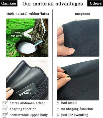 100/% Latex Men Waist Trainer Corsets with Steel Bone Sweat Belt Sauna Sweat Suit