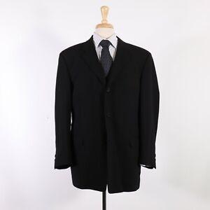 Kenneth Cole 44R Black Solid Wool Three Button Sport Coat Blazer Jacket