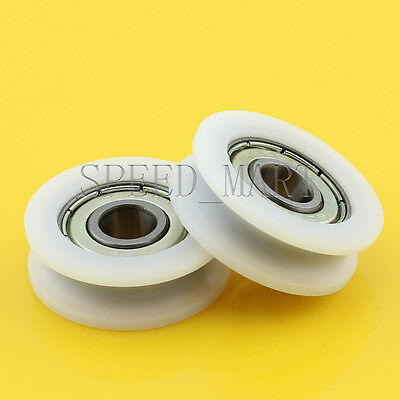 5 Pcs 8x30x10 mm Nylon Plastic Embedded 608 U Groove Ball Bearing Guide Pulley