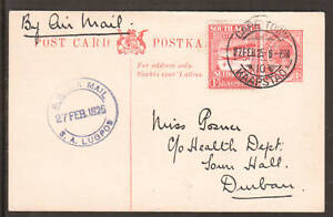 South Africa H&G 7a, Sc C1 on uprated 1925 Postal Card Cape Town to Durban