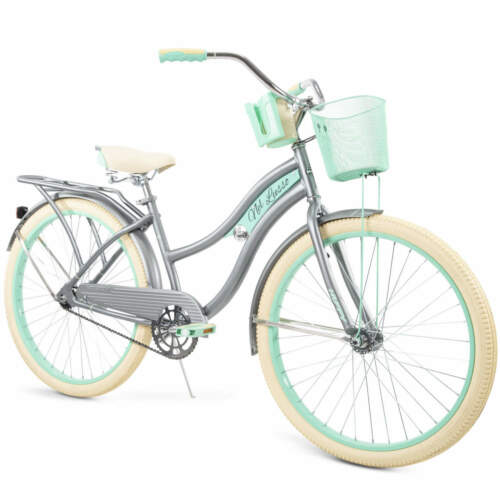 """Gray Nel Lusso Classic Cruiser Bike with Perfect Fit Frame Women/'s 26/"""" Huffy"""