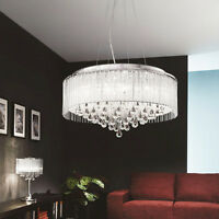 24'' Modern Drum Crystal Shade Chandelier Ceiling Pendant Dining Lighting Lamp