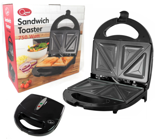 New 750w Electric 2 Slice Sandwich Toast Toaster Maker 700w Non Stick Toasties