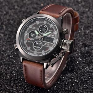 Luxus Herren Militär Sportuhr Armbanduhr Datum LED Digital Edelstahl Quarz Watch