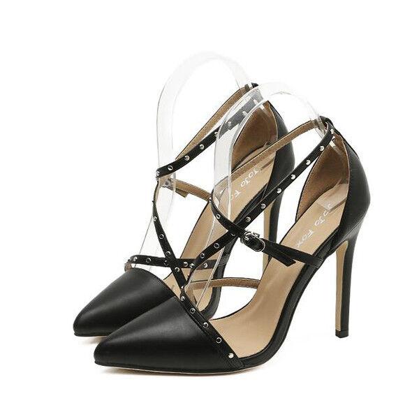 Sandali eleganti tacco stiletto 11 cm nero comodi simil pelle eleganti 9776