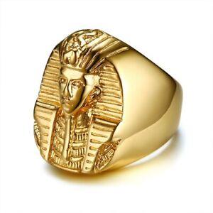 Or En Acier Inoxydable Homme Pharaon Égyptien Biker Ring Taille 9-13-afficher Le Titre D'origine Design Professionnel
