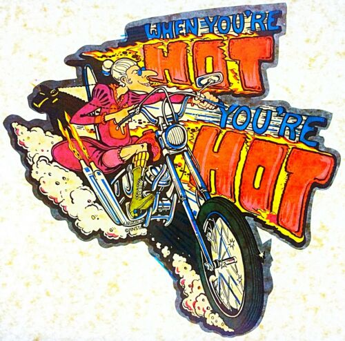 Original Vintage When You/'re Hot You/'re Hot Iron On Transfer Motorcycle