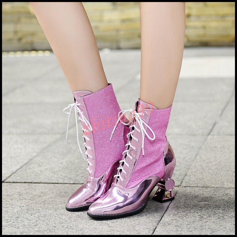 Lady's grueso talón talón talón con Cordones Botas al Tobillo Zapatos talla grande de cuero brillante caliente Bing 9a83dc