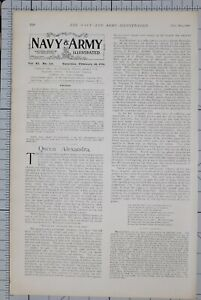 1901-PRINT-NAVY-amp-ARMY-ARTICLE-BRITISH-EMPIRE-EDITORIAL-QUEEN-ALEXANDRA