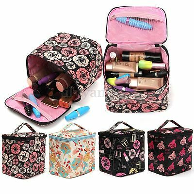 Rose Design Travel Cosmetic Bag Makeup Case Pouch Toiletry Zip Wash Organizer