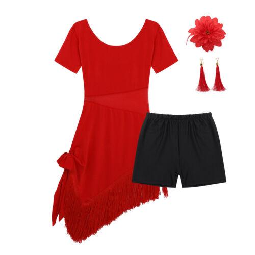 Child Kid Girls Latin Tassels Dance Dress Salsa Tango Dancing Show Wear Costume