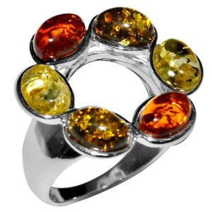 5-03g-Authentic-Baltic-Amber-925-Sterling-Silver-Ring-Jewelry-N-A7171