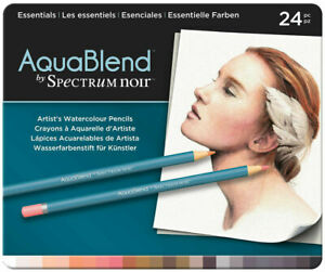 Spectrum-Noir-AquaBlend-Watercolour-Pencils-Essentials-Tin-of-24-NEW