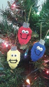 Set Of 3 Christmas Light Bulb Ornaments Plastic Canvas Holiday Tree Decoration