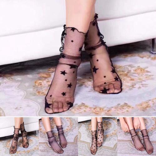 Frauen Mädchen Seide Net Ankle High Socken Lady Mesh Lace Hollow Kurze Socken