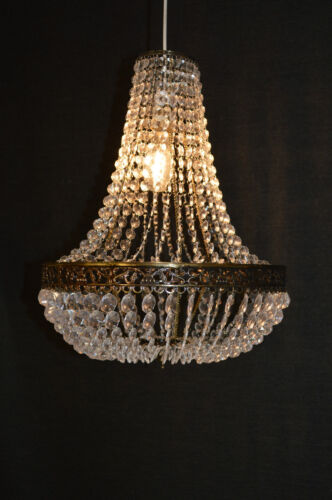 Large Moroccan Acrylic Crystal Brass Chandelier Easy Fit Pendant Light Shade