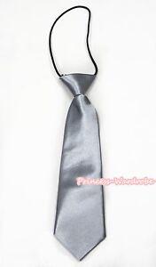 Silver-Grey-Satin-Elastic-Necktie-Wedding-Party-Kids-Boy-Suit-Tuxedo-Accessory