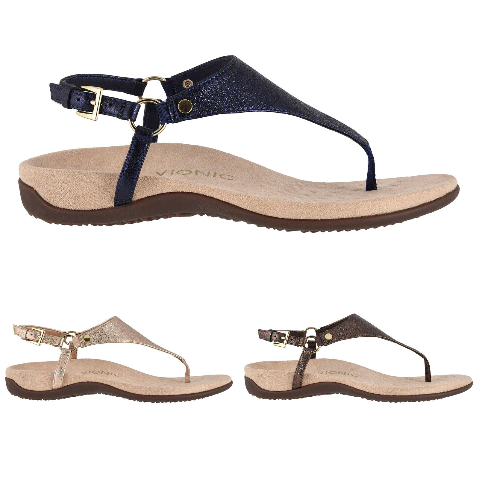 Vionic Rest Kirra  Leather Flat Summer Slingbacks mujer Sandals