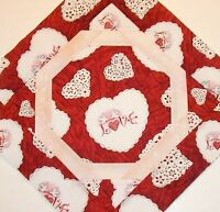 Love Heart Doves & Doilies Quilted Table Topper Mini Quilt - 13
