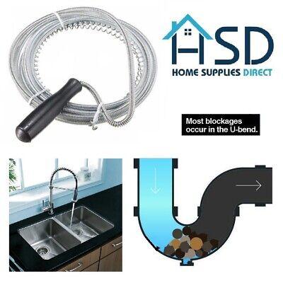 3mt Long Drain Unblocker Waste Pipe Cleaner Kitchen Sink Plunger Wire Snake Rod Ebay