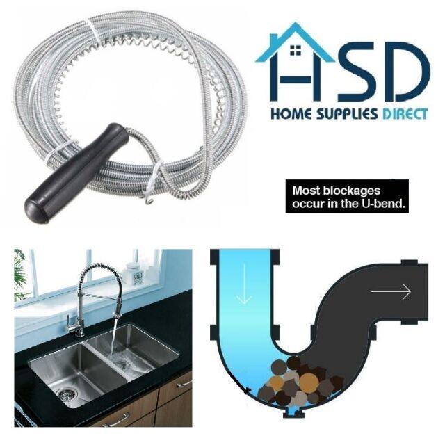 3M Long Drain Unblocker Waste Pipe Cleaner Kitchen Sink Plunger Toilet  Snake Rod