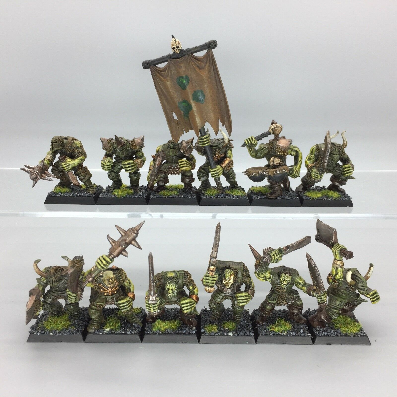 WARHAMMER AGE OF SIGMAR WARRIORS OF CHAOS NURGLE WARBAND FROSTGRAVE PAINTED