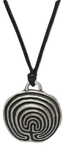 Laberinto Laberinto Peltre Colgante Collar Pagano Símbolo Con Cable Antigua espiritual