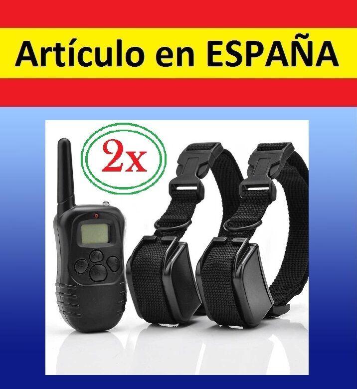 2x Collar + MANDO distancia ADIESTRAMIENTO perros antiladridos descarga perro