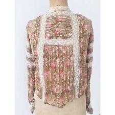 Antique Edwardian Vintage Floral Lace Blouse Top Dress Wedding Bell Sleeves