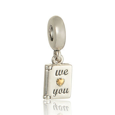 """Mother's Day """"We Love You"""" Solid STERLING SILVER Dangle CHARM BEAD FOR BRACELET"""