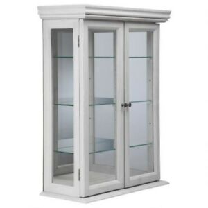 Details About Wall Display Cabinet White Curio Hardwood Gl Doors Shelves Mount New