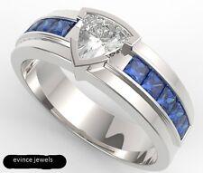 14 K Solid White Gold Natural Gem Stone White Topaz & Sapphire Men's Ring Jewlry