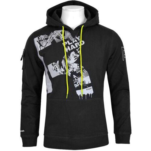 Reebok Hommes Capuche Hoodie Sweatshirt Polaire Pull crossfit noir