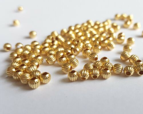 seamless fluted corrugated 3mm round beads vermeil st 925 silver Pack of 50